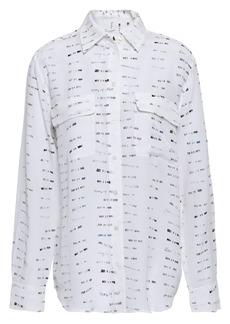 Equipment Woman Signature Printed Washed-silk  Shirt White