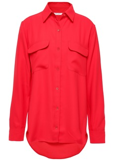 Equipment Woman Signature Washed-crepe Shirt Red