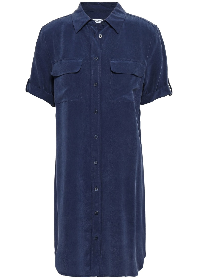 Equipment Woman Signature Washed-silk Shirt Dress Navy