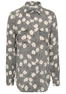 Equipment Woman Slim Signature Floral-print Silk Crepe De Chine Shirt Grey Green