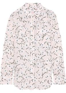 Equipment Woman Slim Signature Floral-print Washed-silk Shirt Pastel Pink