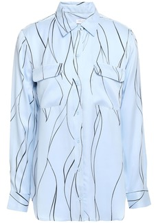 Equipment Woman Slim Signature Printed Washed Silk-blend Shirt Sky Blue
