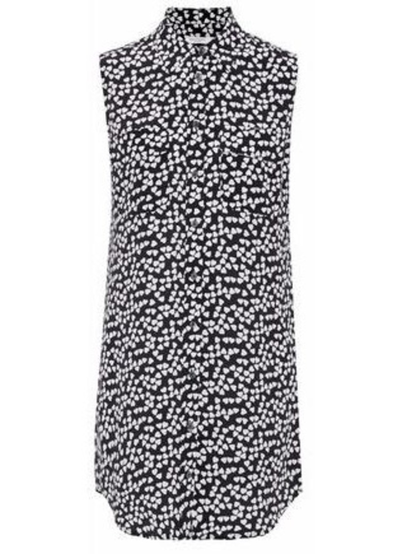 Equipment Woman Slim Signature Printed Washed-silk Mini Shirt Dress Black