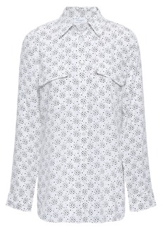 Equipment Woman Slim Signature Printed Washed-silk Shirt White