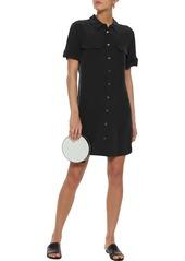 Equipment Woman Slim Signature Washed-silk Mini Shirt Dress Black