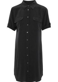 Equipment Woman Slim Signature Washed-silk Mini Shirt Dress Black