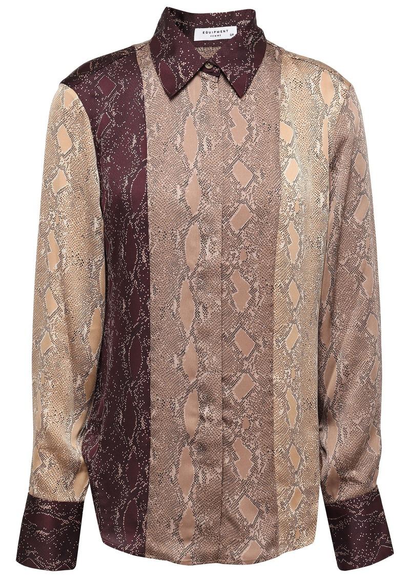 Equipment Woman Snake-print Crepe De Chine Shirt Brown