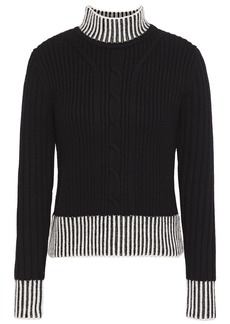 Equipment Woman Striped Cable-knit Wool Turtleneck Sweater Black