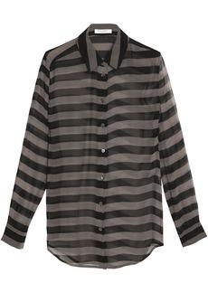 Equipment Woman Striped Silk-chiffon Shirt Black