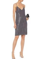 Equipment Woman Tansie Open-back Metallic Fil Coupé Silk-blend Chiffon Mini Dress Gray