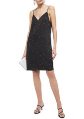 Equipment Woman Tansie Open-back Printed Washed-satin Slip Dress Black