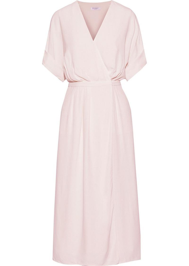 Equipment Woman Tavine Pleated Crepe Midi Wrap Dress Pastel Pink