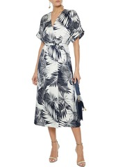 Equipment Woman Tavine Printed Washed-silk Midi Wrap Dress Storm Blue
