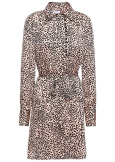 Equipment Woman Temera Leopard-print Washed-crepe Mini Shirt Dress Blush