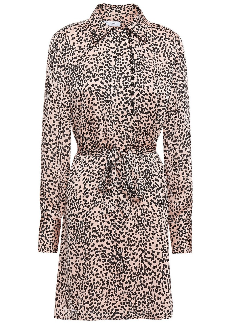 Equipment Woman Temera Leopard-print Washed-crepe Mini Shirt Dress Blush
