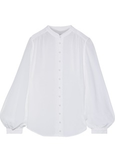 Equipment Woman The Cornelia Gathered Silk Crepe De Chine Blouse White