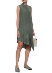 Equipment Woman Tira Asymmetric Washed-silk Shirt Dress Grey Green
