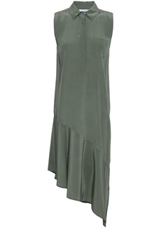 Equipment Woman Asymmetric Washed-silk Shirt Dress Grey Green