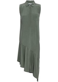 Equipment Woman Tira Asymmetric Washed-silk Shirt Dress Grey Green