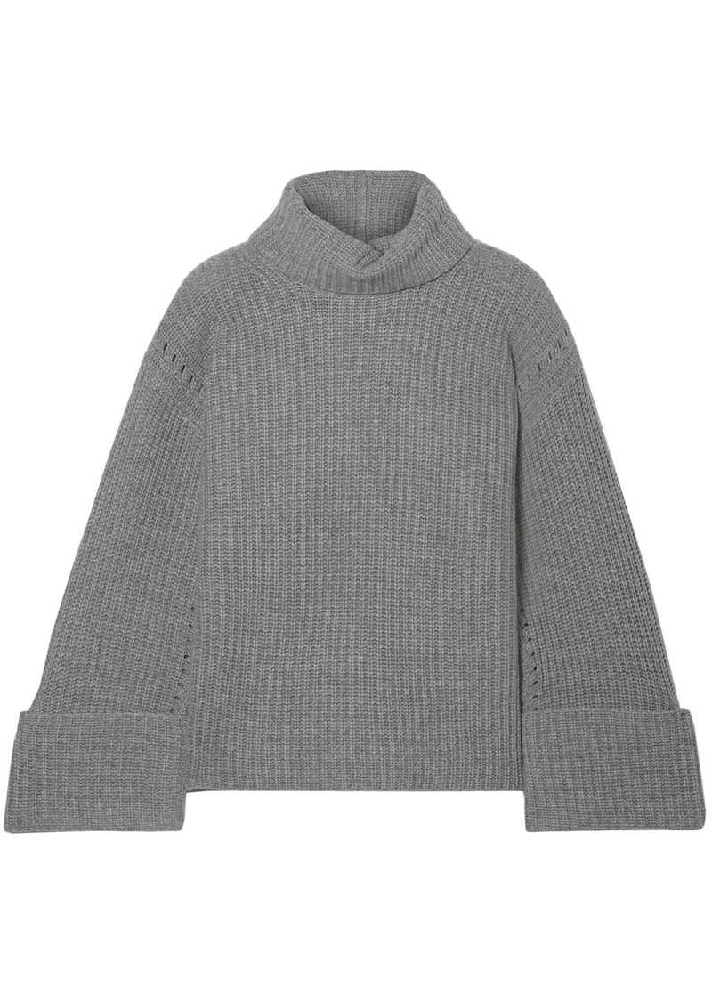 Equipment Woman Uma Oversized Wool And Cashmere-blend Turtleneck Sweater Dark Gray