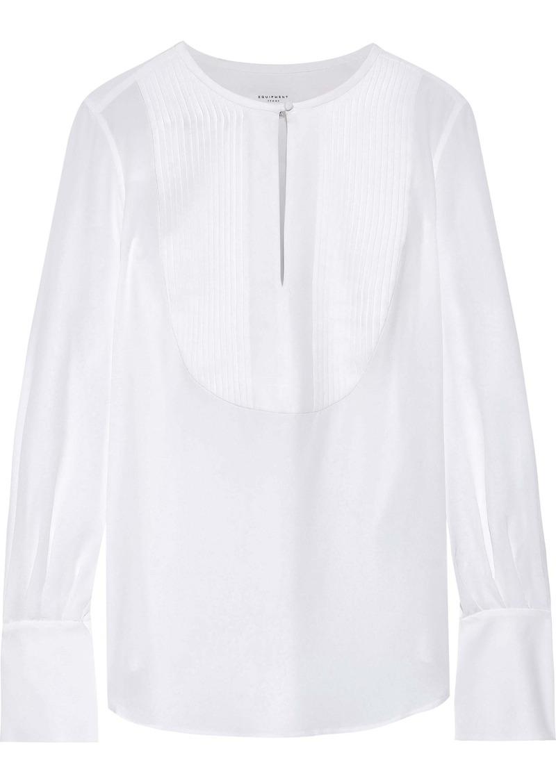 Equipment Woman Vienna Pintucked Washed-silk Shirt White