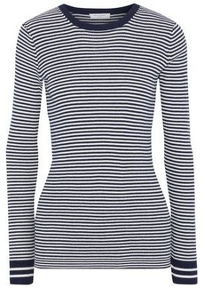 Equipment Woman Virginia Striped Cotton Silk And Cashmere-blend Sweater Navy