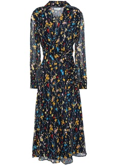 Equipment Woman Vivienne Wrap-effect Floral-print Silk-chiffon Midi Dress Midnight Blue