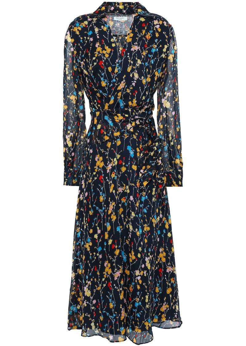 Equipment Woman Vivienne Wrap-effect Floral-print Silk-chiffon Midi Dress Midnight Blue