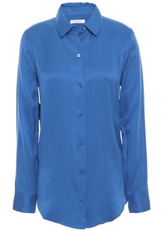 Equipment Woman Essential Washed Silk-blend Shirt Blue