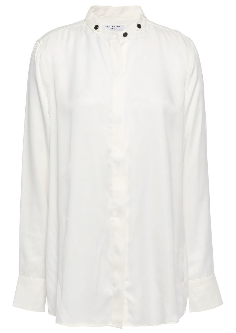 Equipment Woman Washed Silk-blend Shirt White