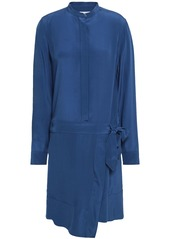 Equipment Woman Winton Wrap-effect Washed-silk Shirt Dress Cobalt Blue