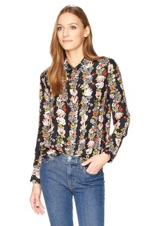 Equipment Women's Botanical Garland Printed Reverse Satin Essential Blouse  L