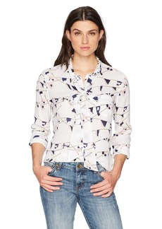Equipment Women's Brett Tie Neck Natutical Print Blouse  S
