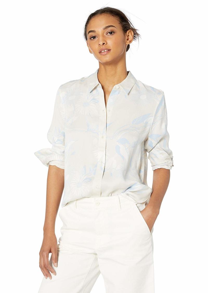 Equipment Women's Flora Print Silk Poplin Leema Shirt gris Sables Multi Extra Large