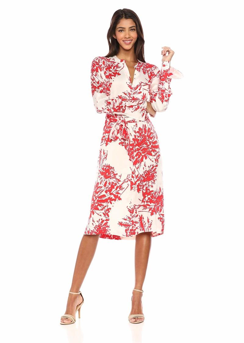 Equipment Women's Floral Print Roseabelle Silk Dress NTR White BLD Moon Extra Large