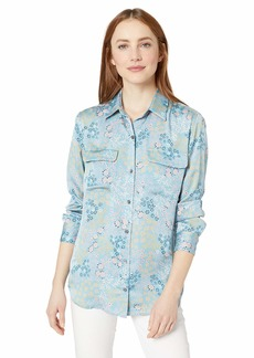 Equipment Women's Mini Floral Signature Shirt bluefumemulti Extra Large