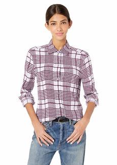 Equipment Women's Printed Check Crepe Brett Shirt lav de mer PRN