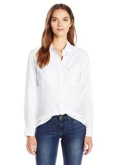 Equipment Women's Sandwashed Crepe De Chine Silk Signature Blouse Shirt bright white
