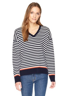 Equipment Women's Stripe with Tipping Lucinda V-Neck Sweater  M