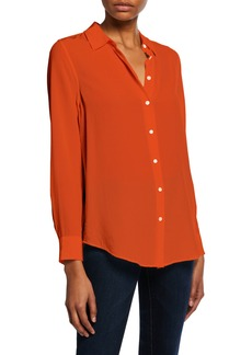 Equipment Essential Button-Down Long-Sleeve Blouse
