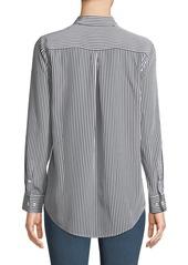 Equipment Essential Button-Front Striped Silk Shirt