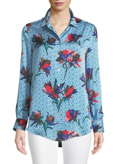 Equipment Essential Geometric Bloom Print Silk Shirt