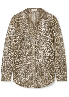 Equipment Essential Leopard-print Lurex-blend Blouse
