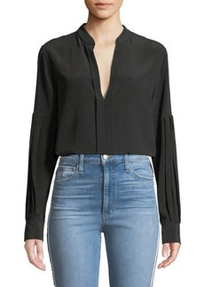 Equipment Estella Long-Sleeve Silk V-Neck Blouse