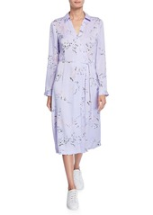 Equipment Fabienne Leaf-Print Long-Sleeve Midi Dress