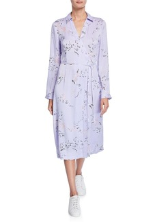 Equipment Fabienne Leaf-Print Long-Sleeve Midi Dress