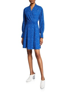Equipment Fanetta Dotted Long-Sleeve Dress