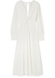 Equipment Faun Knotted Crepe Midi Dress