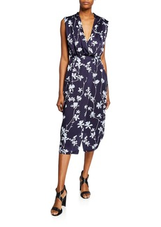 Equipment Femma Floral-Print Sleeveless Satin Dress