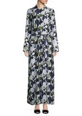 Equipment Floral-Print Silk Maxi Shirtdress